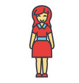 standing young happy woman in cute dress concept vector image
