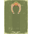 Vintage Christmas horseshoe background with holly vector image vector image