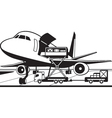 Crane truck loading cargo airplane vector image