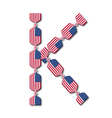 Letter K made of USA flags in form of candies vector image vector image