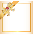 background with gold ribbon and jewels vector image
