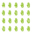 hand with green leaf logo elements vector image