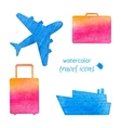 Watercolor travel icons vector image