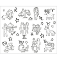 Zodiac icons doodles set vector image
