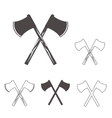 Crossed axes silhouettes set for logo design vector image