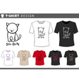 t shirt design with cute cat vector image