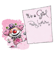 Clown Holding Invitation Its a Girl Party vector image
