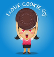 happy woman carrying big chocolate cookie vector image