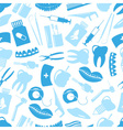 set of blue dental theme icons blue seamless vector image