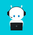 cute funny white robotchat bot vector image