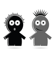 funny grey and black people icon vector image