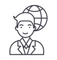 global businessman line icon sig vector image