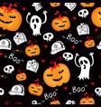 halloween seamless comic pumpkin and phantom vector image