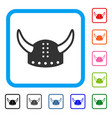 horned helmet framed icon vector image