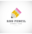 RSS Pencil Concept Symbol Icon or Logo Template vector image