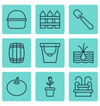set of 9 gardening icons includes pail package vector image