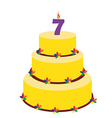 Seventh birthday cake vector image