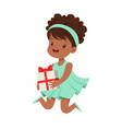 cute happy little girl wearing magic mint dress vector image