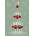 Glass tower of wine vector image vector image