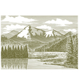 Woodcut Mountain River vector image vector image