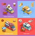 Food Truck 4 Isometric icons Square vector image