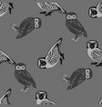 hand drawn seamless pattern with owls vector image