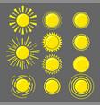 set of yellow suns vector image