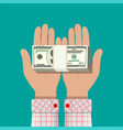 stack of dollar banknotes in hands vector image