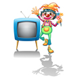 A television beside a female clown vector image vector image