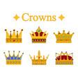 set of gold king crown or pope tiara vector image