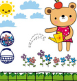 little bear in his garden vector image