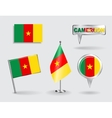Set of Cameroon pin icon and map pointer flags vector image