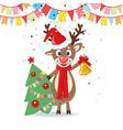 Christmas Card with Cartoon Deer vector image
