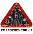 Emergency road kit items set Car service and vector image