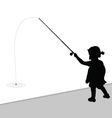 child fishing black vector image