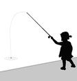 child fishing black vector image