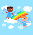 caucasian and african cute angels vector image