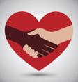 Diversity Handshake On Red Heart vector image