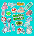 healthy lifestyle sport doodle with gym vector image