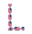 Letter L made of USA flags in form of candies vector image