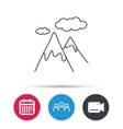 Mountain icon Hills and clouds sign vector image