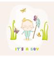 Baby Boy Catching Butterflies - Baby Shower vector image