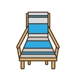 blue chair beach wooden sign vector image
