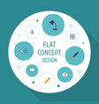 Flat icons scheme compass pen and other vector image