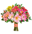 bouquet of multicolored roses and wild flowers vector image vector image