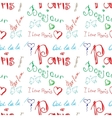 Colored word about Paris seamless pattern vector image