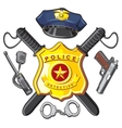 Badge handgun and batons police vector image