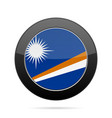 flag of marshall islands shiny black round button vector image