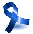 Dark blue awareness ribbon and shadow vector image