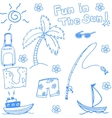 Fun holiday beach doodle vector image